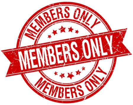 only members: members only grunge retro red isolated ribbon stamp