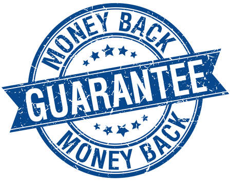 money back guarantee grunge retro blue isolated ribbon stamp