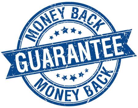 money back: money back guarantee grunge retro blue isolated ribbon stamp