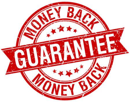 geld terug garantie grunge retro rood geïsoleerde lint stempel Vector Illustratie