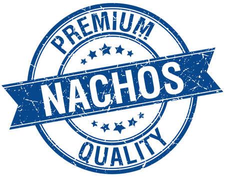 nachos: nachos grunge retro blue isolated ribbon stamp