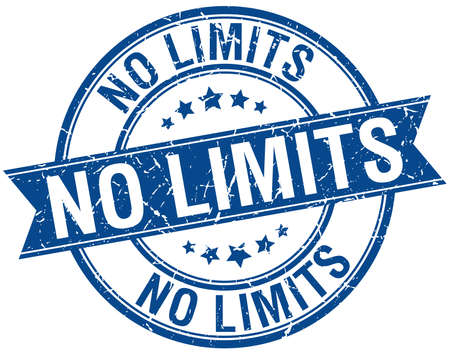 no limits: no limits grunge retro blue isolated ribbon stamp
