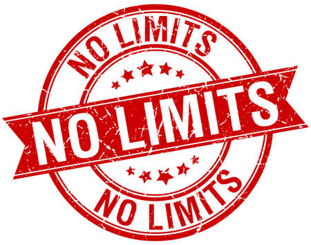 no limits: no limits grunge retro red isolated ribbon stamp