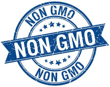 non: non gmo grunge retro blue isolated ribbon stamp Illustration