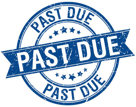 past due: past due grunge retro blue isolated ribbon stamp Illustration