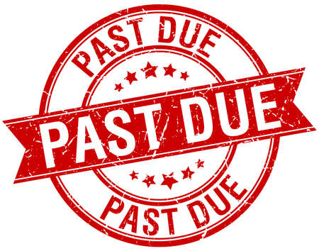 past due: past due grunge retro red isolated ribbon stamp