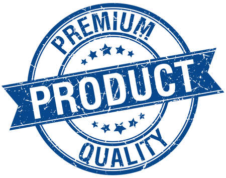 quality product: premium quality product grunge retro blue isolated ribbon stamp