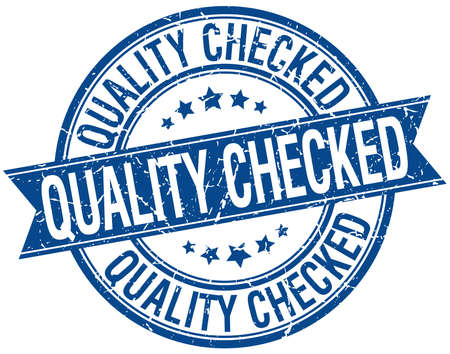 quality checked grunge retro blue isolated ribbon stamp Illustration
