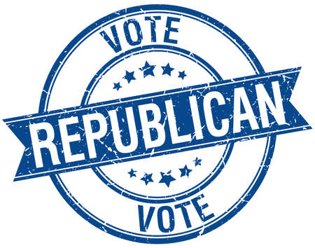 republican: grunge republicano retro azul aislado sello cinta Vectores