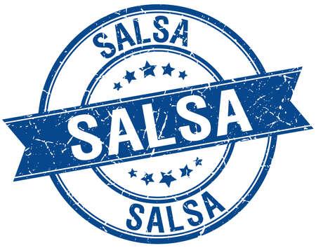 salsa: salsa grunge retro blue isolated ribbon stamp