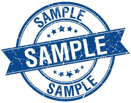 sample grunge retro blue isolated ribbon stamp Illustration