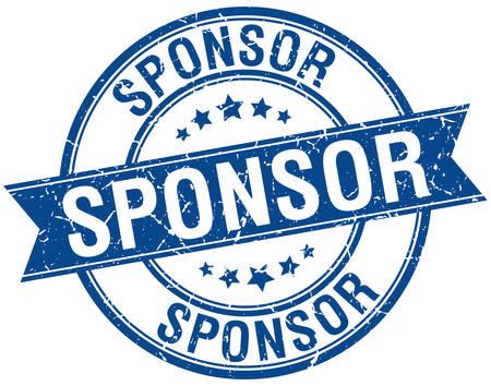 sponsor: sponsor grunge retro blue isolated ribbon stamp