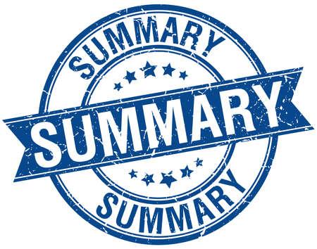 summary: summary grunge retro blue isolated ribbon stamp