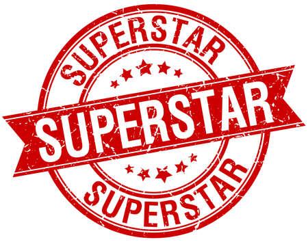 superstar: superstar grunge retro red isolated ribbon stamp