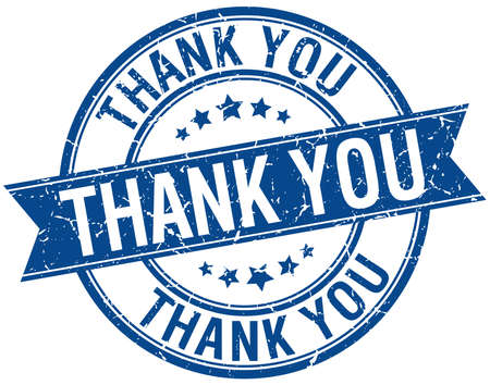thank you grunge retro blue isolated ribbon stamp Vettoriali