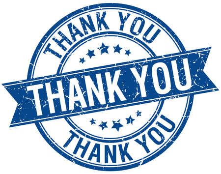thank you grunge retro blue isolated ribbon stamp Illustration