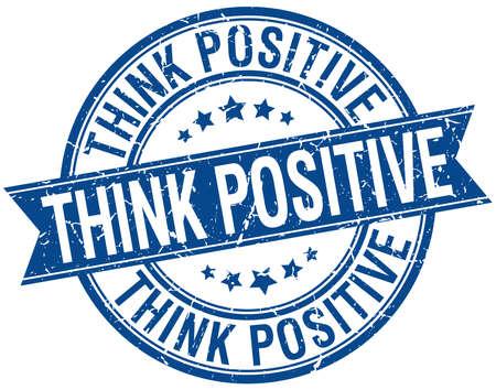 think positive: think positive grunge retro blue isolated ribbon stamp