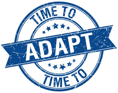 adapt: time to adapt grunge retro blue isolated ribbon stamp