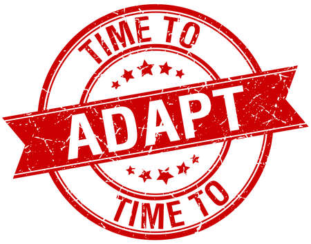 adapt: time to adapt grunge retro red isolated ribbon stamp