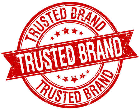 trusted: trusted brand grunge retro red isolated ribbon stamp
