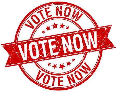 democrats: votar ahora grunge aislado retro rojo sello de cinta