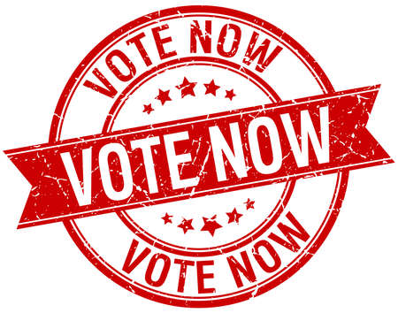 democrats: vote now grunge retro red isolated ribbon stamp