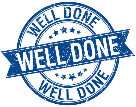 done: well done grunge retro blue isolated ribbon stamp