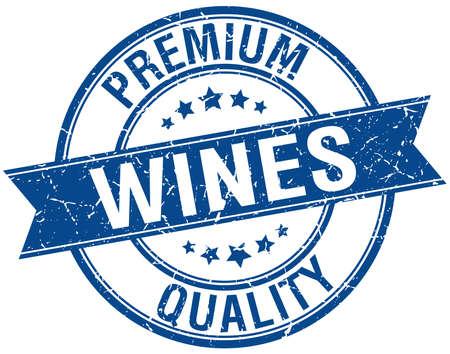 wines: wines grunge retro blue isolated ribbon stamp