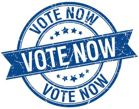 democrats: votar ahora grunge aislado azul retro sello de cinta