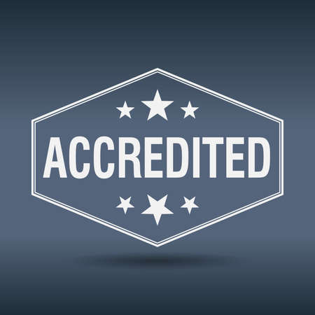 accredited: accredited hexagonal white vintage retro style label Illustration