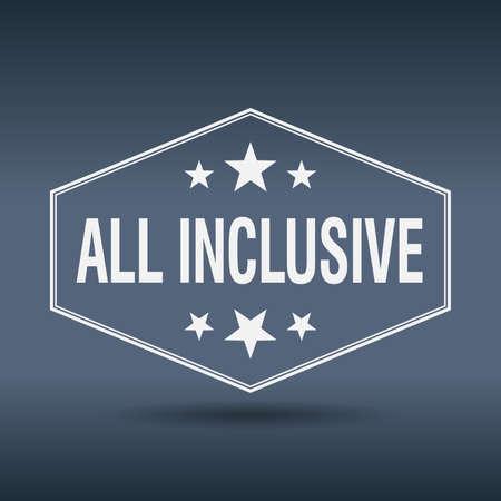 inclusive: all inclusive hexagonal white vintage retro style label