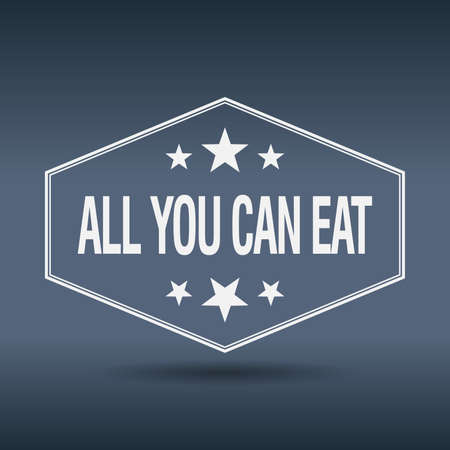 all you can eat hexagonal white vintage retro style label Vector