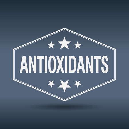 antioxidants: antioxidants hexagonal white vintage retro style label