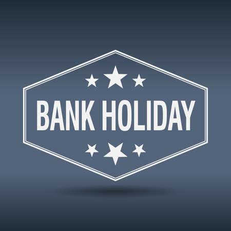 bank holiday hexagonal white vintage retro style label