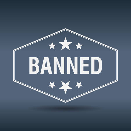 banned: banned hexagonal white vintage retro style label