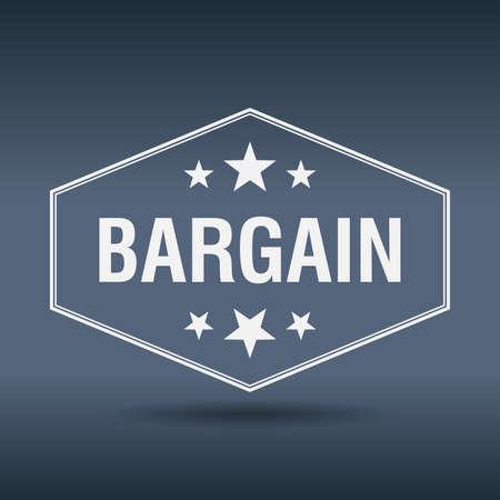 bargain: bargain hexagonal white vintage retro style label