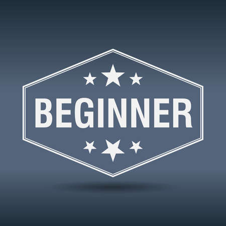 beginner: beginner hexagonal white vintage retro style label
