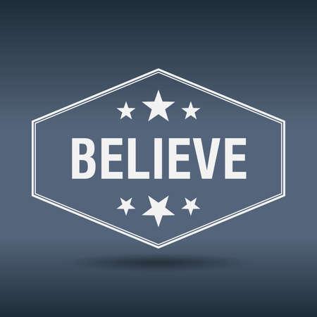 believe: creer etiqueta de estilo hexagonal blanco retro vintage