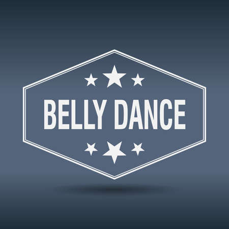 belly dance: belly dance hexagonal white vintage retro style label Illustration