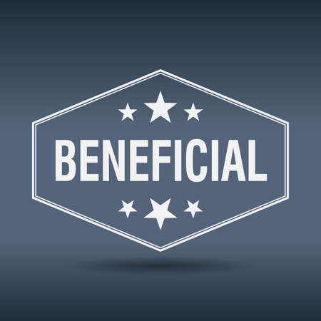 beneficial: beneficial hexagonal white vintage retro style label