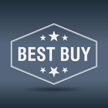 best buy: best buy hexagonal white vintage retro style label Illustration