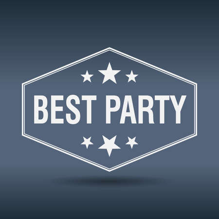 best party: best party hexagonal white vintage retro style label Illustration