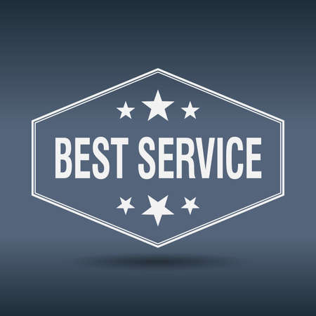 best service: best service hexagonal white vintage retro style label