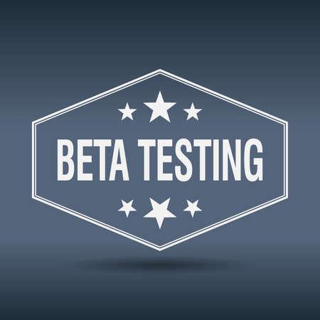 beta: beta testing hexagonal white vintage retro style label
