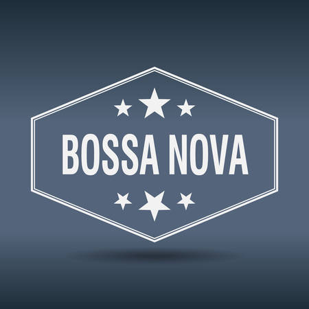 nova: bossa nova hexagonal white vintage retro style label Illustration