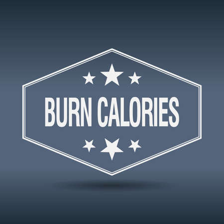calories: burn calories hexagonal white vintage retro style label