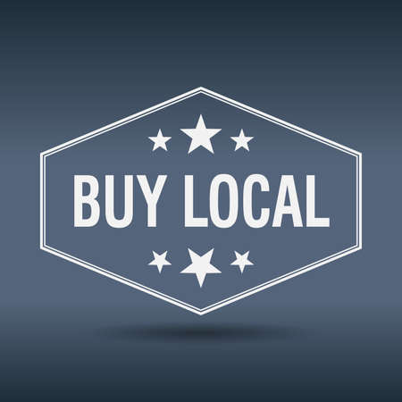 buy local: buy local hexagonal white vintage retro style label