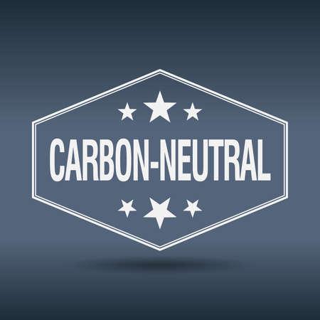 co2 neutral: carbon-neutral hexagonal white vintage retro style label