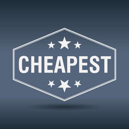 cheapest: cheapest hexagonal white vintage retro style label Illustration