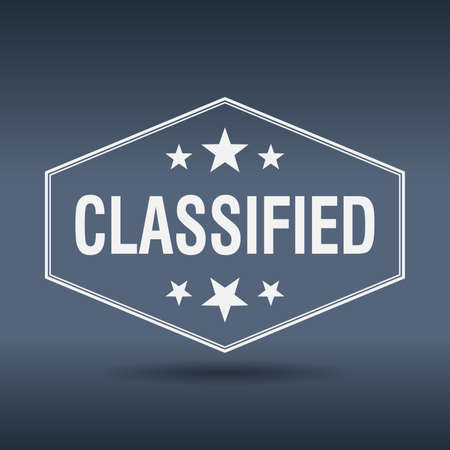classified: classified hexagonal white vintage retro style label